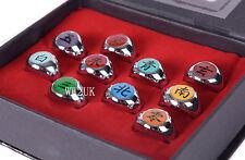 NEW ANIME COSPLAY 10 PCS NARUTO AKATSUKI MEMBER'S RING SET WITH BOX-36111