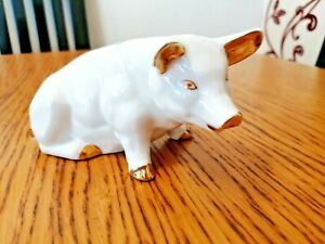 PIG ORNAMENT WHITE & GOLD PORCELAIN MAKERS MARK ON THE BASE