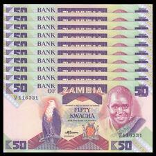 Lot 10 PCS, Zambia 50 Kwacha, ND 1986-1988, P-28, UNC