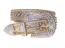 Genuine Leather Gold Western Rhinestone Crystal Bling Snap On Buckle Belt S