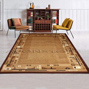 New Modern Design Rug  Borden Pattern Classic Brown Beige Area Rugs Mat Carpet