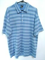 Nike Dri-Fit UV Mens Size XL Blue Striped Short Sleeve Active Golf Polo Shirt