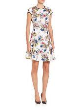 Erdem Daina Floral-Print Cap-Sleeve Dress Size UK 12 (8) MFR $1200