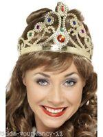 Womens Fancy Dress Jewelled Queen's Crown Tiara England Costume Victorian Queen