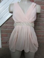 BNWT UK 8 Lipsy Top Nude Peach Colour Embellished Gems Beads Plunge Chiffon