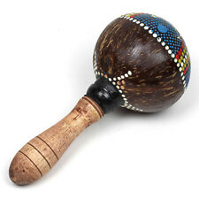 Hand Painted Sun Design on Maraca Made from a Coconut Shell & Wooden Handle