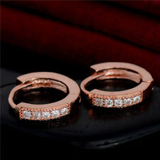 Charm 18K Rose Gold Plated Women Small Round CZ Zircon /Hoop/ Circle Earrings