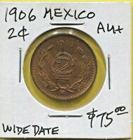 MEXICO - FANTASTIC HISTORICAL BRONZE 2 CENTAVOS, 1906 (WIDE DATE), KM# 419