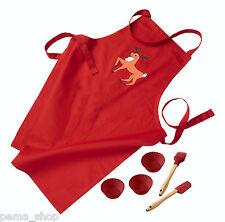 LURCH Kinderbackset Baumwolle Silikon Rot Schürze Muffin Teigschaber Rentier 6tl