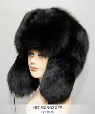 BIG Chapka Ushanka BLACK FOX Fur Russian Hat Pelzmütze Fellmütze Fuchs Mütze