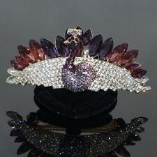 Purple Rhinestone Peacock Barrette Gold Tone Hair Clip Party Gift
