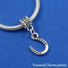 Silver HORSESHOE Horse Shoe Lucky Dangle Bead CHARM fits EUROPEAN Bracelet