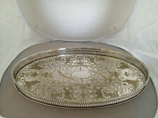 "CHASED VINERS OF SHEFFIELD SILVER PLATED OVAL GALLERY TRAY  (15"" X 10"" X 1)"