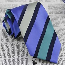 Men Purple White Stripes Tie Wedding Groom Jacquard Woven 100/% Silk Necktie FS36