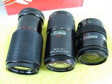 3 Minolta Camera Lenses - 2 AF & 1 MD 80-205mm, 75-200mm Macro, & 28-58mm