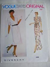 GIVENCHY Vtg 80s Vogue Couturier Design Dress & Belt # 2165 ,NEVER CUT