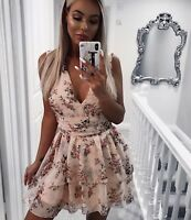 Ladies Women's Floral Print Ruched Waist V-Neck Sleeveless Mini Dress occasion