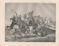 Löwenjagd Beduinen zu Pferd Löwen Araber LITHOGRAPHIE von 1842