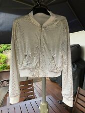 PERFECT COND. *AWESOME* WHITE ZIP-UP SHINY SILVER STUDDED LOOK JACKET - SIZE S