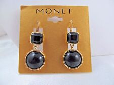 NWT MONET GOLD & BLACK BAUBLE DANGLE EARRINGS, Stunning, Signed