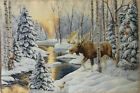 Tapestry Panels Textile Picture without Frame Moose Fabric 29 1/2x18 1/2in