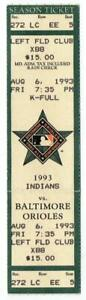 INDIANS @ ORIOLES ~ 1993 Ticket, Ripken Streak Game #1844 ~ Cal 3 Hits ~ FREE SH