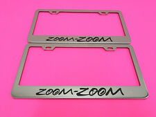 2x ZOOM ZOOM - STAINLESS STEEL Chrome Metal License Plate Frame w/Screw caps*