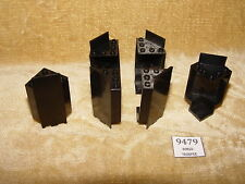 LEGO Parts: 2345 Panel 3 x 3 x 6 Corner Wall BLACK x 6 PIECE Knights Forestmen