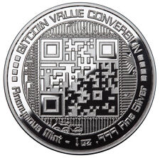 BITCOIN VALUE CONVERSION 1 oz .999 Solid Silver Proof Round Capsuled Coin W/ COA