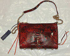 REBECCA MINKOFF MAC CLUTCH RED SNAKE LEATHER CROSSBODY BAG NEW AUTHENTIC