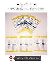 50value 1000pcs 1/4W Metal Film Resistor Assortment Kit( SPRING SALE)