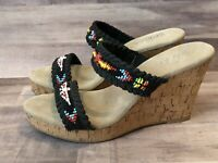 Sbicca Womens Black Beaded Strappy Cork Wedge Sandal Size 8