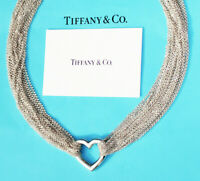Tiffany & Co Sterling Silver Ten Row Chain Mesh Heart Toggle Necklace