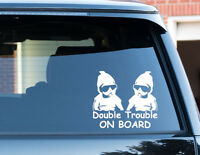 Double Trouble On Board Twins Baby Child Window Bumper Car Sign Decal Sticker