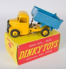 Dinky 410 Bedford End Tipper Truck. Yellow/Blue. Near-Mint/Boxed. 1950's