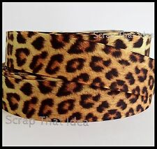 "Leopard Print  RIBBON. 1"" Grosgrain. Scrapbooking/Bows/Craft. LARGE Animal Spots"