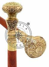 Vintage Solid Brass Knob Design Handle Antique Style Wooden Walking Stick Canes
