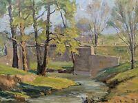 Original Earl W. North (1904-1989) Painting- Listed Ohio Artist Landscape Bridge