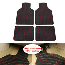 4xSoft Leather Car Auto Floor Mats Waterproof Liners Carpets Black+Red Line Part
