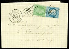 FRANCE : VF, Choice 1871 Mixed period Folded Letter tied by neat numeral cancels