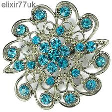 """NUOVO 2 """"Silver Fiore Pin Spilla Blu Strass Cristallo Nozze UK"""