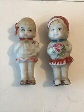 Old Frozen Charlotte Penny Doll Dutch Girl Bisque Japan Set Of 2 Pre-1930