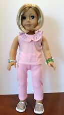 """Pink Striped Ruffled Tank & Leggings fits American Girl or other 18"""" Dolls"""