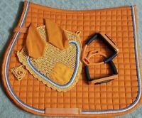 """Horse Full English Saddle Pad Matching Fly Bonnet Net 4.75"""" Flex Safety Stirrups"""