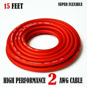 2 Gauge Wire RED , Amplifier Power/Ground  Amp Wire 15 Feet Cable Roll