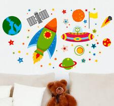 Razzo nave spaziale fuori dello Spazio Ufo Pianeti Learning Adesivi Murali Bambini adesivi auto
