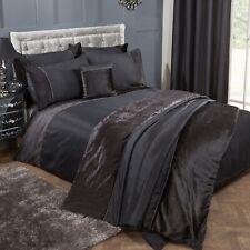Diamond Velvet Double Duvet Cover Set Diamante Bed Quilt Cover Bedding Set Black