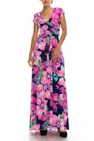 NEW Beautiful Janette Full Length Maxi Wrap Magenta, Pink and Blue Dress