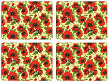 NEW Set of 4 Dining Table Placemats and Coasters Red Poppy