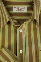 Penguin Men's Roman Gold Yellow & Green Striped Cotton Casual Shirt L Large
